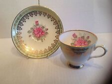 Elizabethan Cup and Saucer Green Border gilded Scrolls Pink Rose & Buds