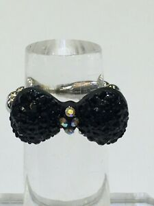 BLACK Sparkling Crystals TINY BOW RIBBON Lady Girl SILVER RING Size 6 7 8  GIFTS