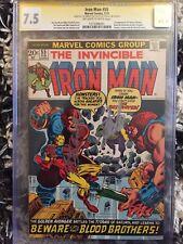 The Invincible Iron Man 55 cgc 7.5 SS x2 Sinnott & Lee. 1st Thanos 1stDrax.