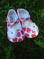 Girl Toddler Strawberry Shoes - Handmade (Size 4-5)  (5 in.)