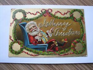 Santa Antique Christmas Postcard Red Robe Smoking Pipe Glitter on Merry Christma