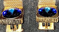 Silver Tone Blue Rivoli Crystal 💥Awesome Vintage Mesh Wraparound Wrap Cufflinks