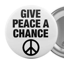 "Give Peace A Chance Large Badge Button Pin 55mm 2.25"" Anti-War Slogan"