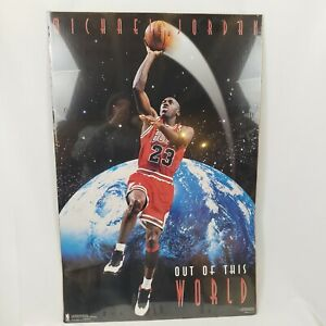 "Vtg 90s Michael Jordan Out of This World Poster 23x35"" 1995 Costacos Chi Bulls"