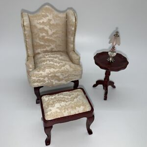 Vintage 1:12 Mahogany Upholstered Wing Back Chair Armchair Dollhouse Set Lot