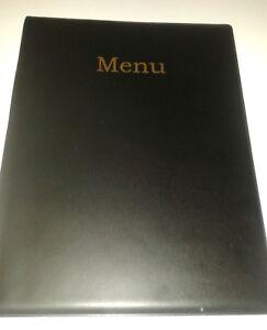 QTY 25 (Twenty )A4 MENU HOLDER/COVER/FOLDER IN BLACK LEATHER LOOK PVC