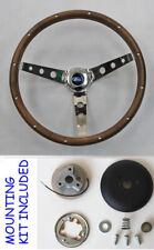 "Explorer Ranger Steering Wheel Grant 15"" chrome spokes Wood Grip Ford cap"