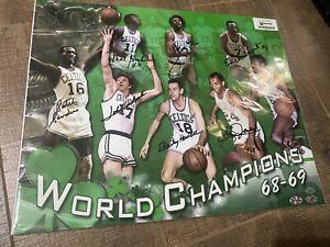 Boston Celtics TEAM Signed 16x20 1968-69 CHAMPS BILL RUSSELL JOHN HAVLICEK JSA