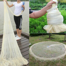 10FT 3X4M Fishing Net Nylon Monofilament Mesh Easy Throw Hand Casting w/ Sinker
