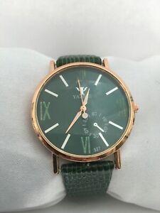 Unisex Quartz Analogue Yazole Green Lizard Print Leather Strap Watch
