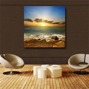 Poster Wall Art Canvas Painting Landscape Print Sunset and Beach Wall Pictures