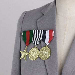 3Pcs Army Military Officer Medals Costume Accessory Combat Hero Honor Medals Set