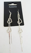 Sparkly Sexy Snake Chain and Diamante Heart Dangle Drop Earrings 11.5 cms