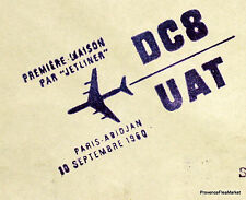 1960  DC8 UAT PARIS ABIDJAN    Airmail Aviation premier vol AC06
