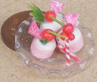1:12 Scale 3 Cherry Cakes On Glass Plate Dolls House Miniature Food Accessory Nk