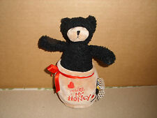 GANZ HERITAGE COLLECTION ''HONEY POT'' PLUSH BLACK BEAR IN YOUR MY HONEY POT 7''