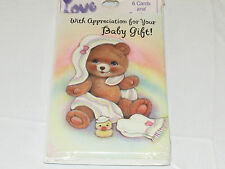 """Love 1 packs of 6 Thank you """"with Apprecitation for Your Baby Gift"""" baby cards#"""
