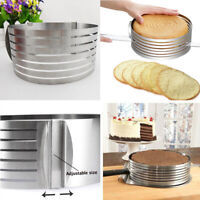 Adjustable Round Stainless Steel DIY Mousse Cake Ring Mold Layer Slicer Cutter n