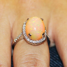 Oval Opal Halo Ring with Diamonds in 18kt White Gold 5.50ctw