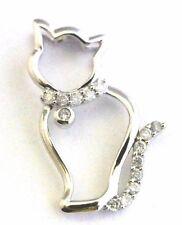 10k White Gold 0.14CT Diamond Cat Necklace Pendant Charm Kitten Animal B1.