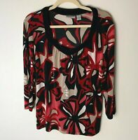 Chico's Travelers Women's Top Size 2 (Large, 12) 3/4 Sleeves V-Neck Casual