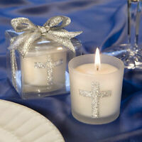 25-96 Silver Cross Candles - Religious Baptism Wedding Favors