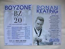 BOYZONE/Ronan Keating 20th Anniversary/Fires UK Tours 2013 Promo tour flyers x 2