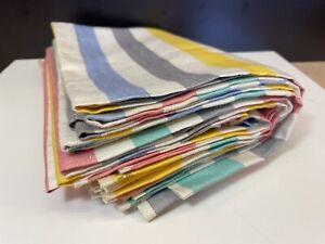 8 Vintage Irish Linen Tea Towels Pastel Rainbow Stripes