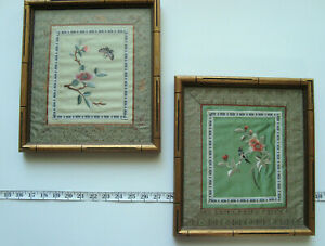 Two Vintage Framed Chinese Silk Embroidery Art with Bird Butterfly Flower