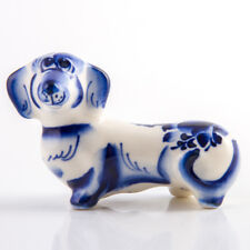 Gzhel Puppy Figurine Hand Painted in Russia Dachshund Porcelain Sculpture