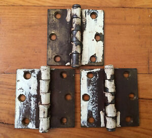 """3 VTG McKinney Door Butt Hinges Ball Tip Removable Pins Used Rusty Paint 2.5"""""""
