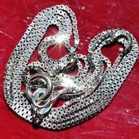 "10k white gold necklace 16.0"" box link chain vintage 1.0gr"