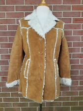 KENNETH COLE REACTION Women's Beige Suede Faux Shearling Coat Size M