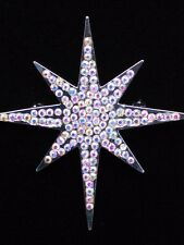"Ab Rhinestone Wise Men Jesus Christmas Star Of Bethlehem Brooch Pin Jewelry 2.5"""