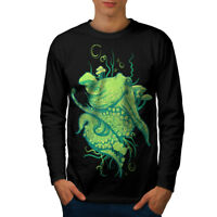 Wellcoda Octopus Beast Mens Long Sleeve T-shirt, Sea Creature Graphic Design