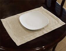 """6 Pack - Hemstitched Placemats - 14"""" x 20"""" - Sand - Easy Care Washable"""