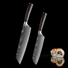 2 Pcs Kitchen Knives Set Japanese Damascus Pattern Stainless Steel Cleaver Knife