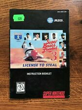 Bases Loaded 3 License to Steal SNES Super Nintendo Instruction Manual Only