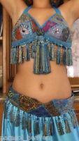 "BELLY DANCE TURQUOISE BLUE SARI TRIBAL FRINGE TASSEL BRA & BELT SET "" B "" Cup"