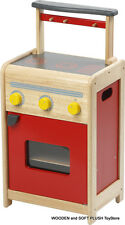 *NEW kid's Red Retro Kitchen STOVE children's Pretend Wooden Play Toy Cubby Play