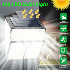 436 LED Solar Powered PIR Motion Sensor Light Outdoor Security Garden Lamp IP65