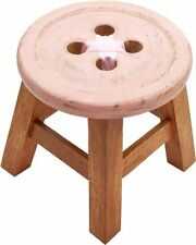 Shabby Chic Rustic Wooden Child's Girls Pink Short Button Stool Acacia Wood