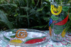 Rare SI-AN Italy HAND-CRAFTED HAND-PAINTED Art Glass VERY LARGE VASE & BOWL Aust