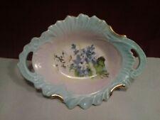 L50 Vtg Porcelain Floral Decorative Candy Dish~Dual Handle~H/P Artist Signed~Euc