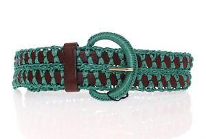 DOLCE & GABBANA Belt Wide Green Raffia Woven Waist Leather 65cm/26inch