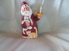 Eddie Walker Santa Figurine Holding A Candle And Kitten