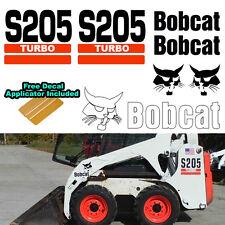 Bobcat S205 TURBO Skid Steer Set Vinyl Decal Sticker 7 PC SET + DECAL APPLICATOR
