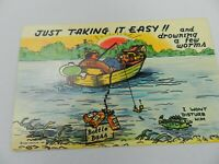 """Vintage Postcard Humor """"Just Taking it easy! and drowning a few worms"""""""