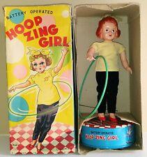 BATTERY OP HOOP ZING GIRL RARE 1950'S JAPAN TIN TOY IN ORIGINAL BOX WORKS GREAT