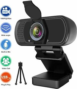 1080P Full HD Webcam with Microphone,Tripod, Privacy Cover-Streaming, 110° Angle